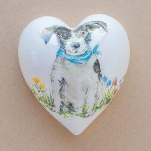 lare heart – black and white dog