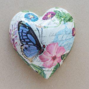 large heart – butterfly – pink flower
