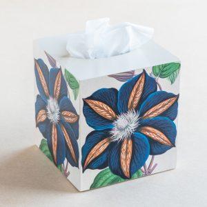 tissue box cover – blue flower