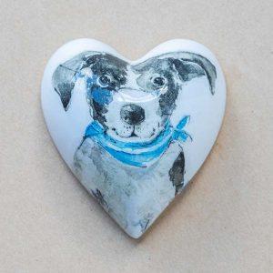 small heart – black – white  dog