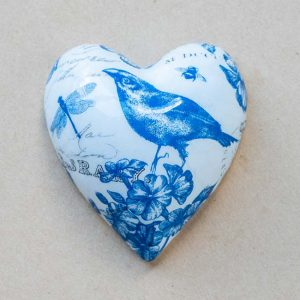 small heart – birds – blue toile- 01