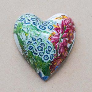 small heart – botanical – blue