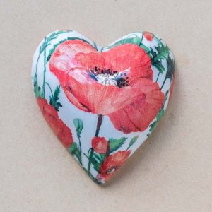 Small Heart – red – white poppies